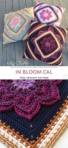 Crochet Diy, Crochet Home Decor, Crochet Crafts, Crochet Projects, Crochet Ideas, Floral Cushions, Crochet Cushions, Colorful Pillows, Bloom