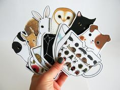 Animals in Teacups Blank Greeting Card Set of 6