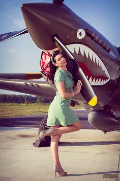 Girl with world war 2 bird