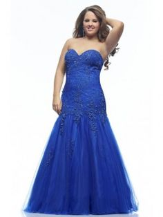 Trumpet/Mermaid Sweetheart Sleeveless Applique Floor-length Lace Plus Size Prom Dresses