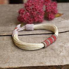 White linen bracelet pink beaded bracelet organic by Naryajewelry, $28.00