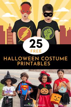 DIY Halloween Costumes for Kids at KidsPartyWorks.com Printable Halloween Masks, Diy Halloween Costumes For Kids, Diy Costumes, Fall Halloween, Halloween Crafts, Halloween Party, Creative Party Ideas, Unique Party Favors, Party Corner