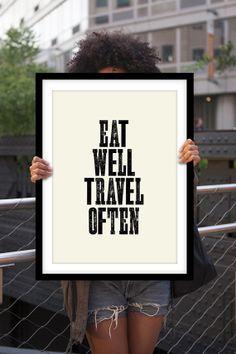 Typographie imprimer affiche Art « Manger voyage bien souvent » mur motivation Art décoratif Subway Art inspiration devis conception typographique