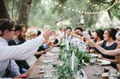 Andrew & Rachel // A Hidden Oaks Heritage Wedding in Ramona » The Daily Frolic / reception / cheers / market lights / garland / long table