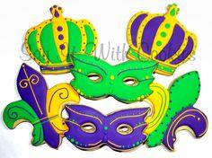 Mardi Gras cookies.  Hand decorated shortbread cookies.