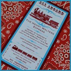 Vintage Train Birthday Party Invites