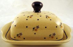 Country Flowers butter dish - Twins Polish Pottery