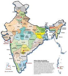 This map hypothesises what Indian state divisions might look like in going by historical and demographic trends. 16 Fascinating Maps That'll Change Your Perception Of India India World Map, India Map, India India, Hyderabad, Indian Constitution, Union Territory, States Of India, 50 States, Teaching Geography