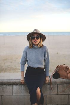 Mustard turtleneck sweater | neck length gray checkered skirt