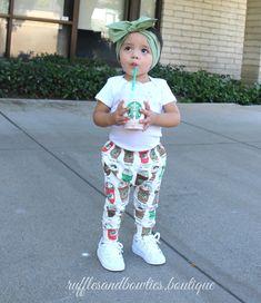 Baby Coffee Leggings - Baby Frapuccino Leggings - Coffee Pants - Starbucks - Footless Tights/Leggings - Fall Leggings - Babby Legging - Fun Leggings - Baby Fall leggings