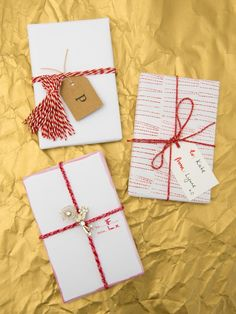 3 ways to wrap using bakers twine.