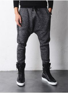 $52 Ella Drop Crotch Woolen Tweed Fleece Jersey Pants by Fabrixquare