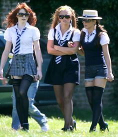 Girls Aloud cause mischief at St. Trinian's with sexy school uniformThe saucy band turn heads on the St Trinian's film setCheeky Girls Aloud band members set hearts racing as they strolled in the spring sunshine wearing skimpy school uniforms.Girls A School Wear, School Girl Outfit, School Uniform Girls, Girls Uniforms, Girl Outfits, School Uniforms, English School Uniform, School Outfits, St Trinians