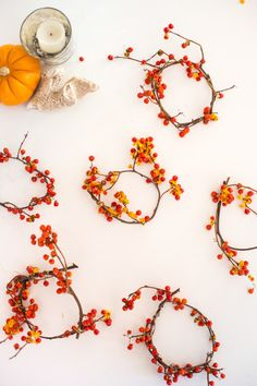 beautiful wreathes made of twisted bittersweet vines, perfect for your Thanksgiving table!