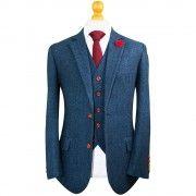 Blue Classic Herringbone Tweed