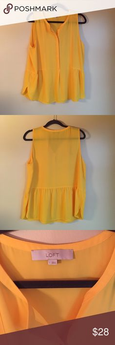Loft yellow peplum sleeveless blouse Worn once, so cute but not good with my coloring! True to size. Sunny yellow color is perfect for Spring! LOFT Tops Tank Tops