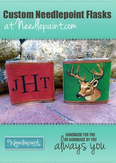 A Drink and a Stitch – Custom Needlepoint Flasks Canvas Designs, Needlepoint Kits, Flasks, Cross Stitch, Learning, Drinks, Check, Blog, Style