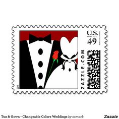 Tux & Gown - Changeable Colors Weddings Postage Stamps