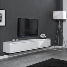 Matt Zwevend TV-meubel Nero XL / Wit