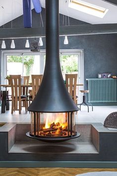 Bordelet Zelia 908 Suspended Wood Burning Fireplace - Home: Living color Wood Burner Fireplace, Faux Fireplace, Fireplace Inserts, Fireplace Design, Suspended Fireplace, Hanging Fireplace, Hearth, House Design, Wood Wood