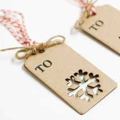 cute gift tags - i can make this with my snowflake hole punch