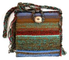 """Evening at the Lake,"" my newest hand woven tapestry purse created from my hand spun yarns."