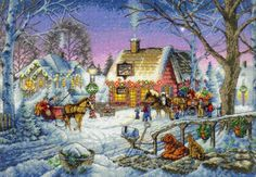 Dimensions Gold Collection Counted Cross Stitch Kit, Sweet Memories Christmas Cross Stitch, 16 Count Dove Grey Aida, x Cross Stitch Designs, Cross Stitch Patterns, Dimensions Cross Stitch, Cross Stitch Landscape, Counted Cross Stitch Kits, Sweet Memories, Christmas Cross, Le Point, Christmas Wreaths