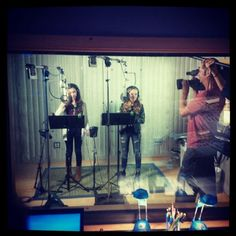 Behind the Scenes Photo of Me and Sabrina Recording Take On The World for Girl Meets World! :)