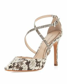 Fall Trends~                                                            Cheyenne Crisscross Pointed-Toe Pump, Marble Snake by Pour la Victoire at Neiman Marcus Last Call.