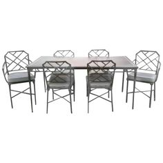 Seven-Piece Brown Jordan Calcutta Faux Bamboo Patio Set of Dining Table Chairs   From a unique collection of antique and modern patio and garden furniture at https://www.1stdibs.com/furniture/building-garden/garden-furniture/