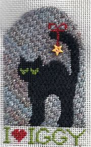 black cat by Kathy Schenkel, adapted to be a needlepoint Christmas ornament with JABC button embellishment