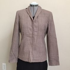 """Loft Brown Wool Blazer Loft Brown Wool Blazer. Size 4 Petite measures: 16"""" across shoulders, 19"""" across chest, 23"""" long. Fully lined, hidden button closure. Matching skirt also listed but is a size 6. LOFT Jackets & Coats Blazers"""