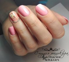 Studded Peach and Pink Accent. With all your spring outfits, this studded peach and pink accent would go awesome. Just pick up your nail colors and draw your creativity out.