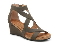 Adrienne Vittadini-Trilden Wedge Sandal Lattice straps make a crisscross pattern that adds a cagey appearance to the Trilden sandals from Adrienne Vittadini. A full-length zipper allows for easy on-and-off wear. Me Too Shoes, Heeled Boots, Shoe Boots, Women's Shoes, Low Wedge Sandals, Wedge Sandals Outfit, Shoe Wedges, Strap Sandals, Shoes