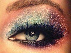 Glittery eye makeup