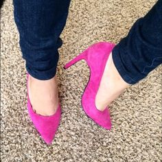 Jeffery Suede Pumps Every girl needs a pink pair of heels in their life! These suede heels measure 4.5 inches high. They have been used once & in 9/10 condition!! The shoe says it's a size 6.5 but I honestly think they fit big, more like a size 7. Jeffrey Campbell Shoes Heels