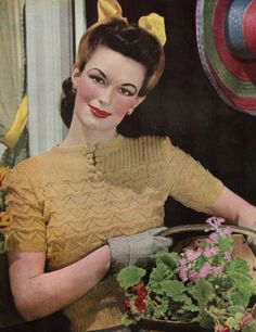 Knitting Patterns Vintage Style For You: Free Knitting Pattern – Jumper – Stitchcraft June 1941 Beginner Knitting Patterns, Free Knitting, Summer Knitting, Knitting Stitches, Crochet Patterns, Crochet Humor, Diy Sewing Projects, 1940s Fashion, Vintage Knitting