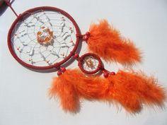 Rot-Orange Traumfänger mit Carneol und Perlen von Hochwertige  Traumfänger, Schmuck, Bilder u.v.m. auf DaWanda.com