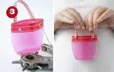 DIY make these adorable mini bags (for American girl dolls maybe?) from recycled bottles and washi tape!