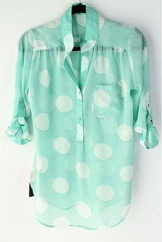 Mint dot blouse