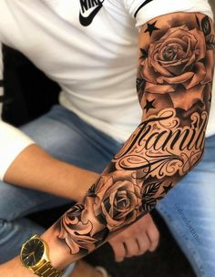 Rose Tattoos For Men, Half Sleeve Tattoos For Guys, Hand Tattoos For Guys, Full Sleeve Tattoos, Tattoo Sleeve Designs, Tattoo Designs Men, Tatoos Men, Sleeve Tattoo Men, Family Sleeve Tattoo