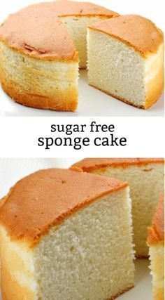 Sponge Cake Made Sugar Free! Great cake recipe for diabetics or sugar free folks. Diabetic Desserts, Sugar Free Desserts, Sugar Free Recipes, Diabetic Recipes, Low Carb Recipes, Cooking Recipes, Sugar Free Sponge Cake Recipe, Sugar Free Cakes, Healthy Cooking