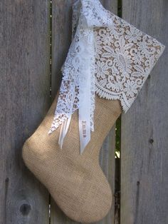 Burlap Christmas Stockings French Country Farmhouse Chic Personalized Paisley Lace