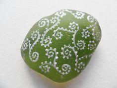 Twirly swirly dot pattern  hand painted sea glass by Alienstoatdesigns, $3.00
