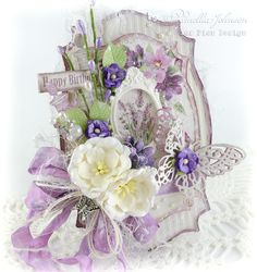 My Little Craft Things: Lovely Lavender Birthday - with Video Vintage Birthday Cards, Vintage Cards, Vintage Paper, Card Creator, Shabby Chic Cards, Beautiful Handmade Cards, Card Making Inspiration, Paper Cards, Cool Cards