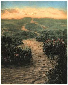 "Scott Prior, Dunes at Sunrise, 2005  polymer intaglio with digital pigment ink 15 x 12"" image size, 21 3/4 x 17"" paper size at William Baczek Fine Arts www.wbfinearts.com"