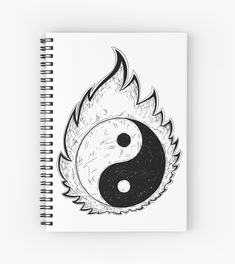 ' Hand Drawing of Yin Yang Jin Jang Symbol' Spiral Notebook by Zdenek Sasek Yin Yang, Jin, Spiral, How To Draw Hands, Wolf, Notebook, Drawings, Unique, Dibujo