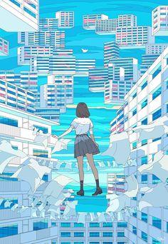 Pretty Art, Cute Art, Aesthetic Art, Aesthetic Anime, Aesthetic Beauty, Japon Illustration, Art Graphique, Anime Scenery, Anime Art Girl