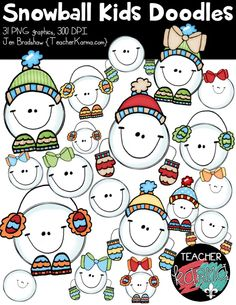 Snowball Kids Doodles clipart.  Winter graphics for classroom teachers, TpT sellers, and scrapbookers.  Commercial use is ok.  TeacherKarma.com