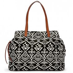 Printed oversize totes - Millie - Black White